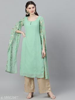 AKS Couture Women Green Solid A-Line Kurta