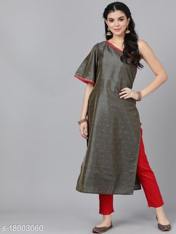 AKS Couture Women Olive Brown & Red Woven Design One Shoulder Straight Kurta