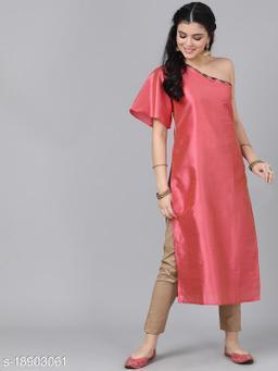 AKS Couture Women Pink Solid Straight Kurta