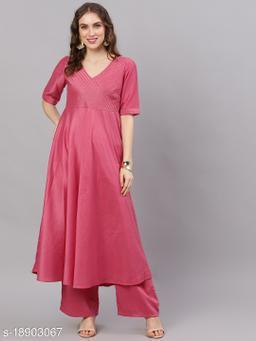 AKS Couture Women Pink Solid Anarkali Kurta