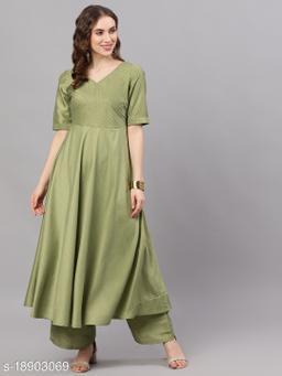 AKS Couture Women Green Solid Anarkali Kurta