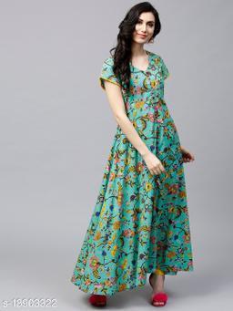 AKS Women Green & Yellow Floral Print Anarkali Kurta