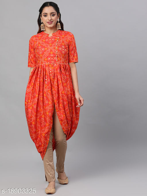 Women Polyester A-line Printed Orange Kurti