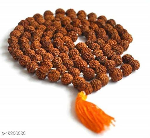 Original 5 Mukhi Rudraksha Natural 6-7 mm Beads Japa Mala 108 Beads Wood Chain Wood Chain pack of 1