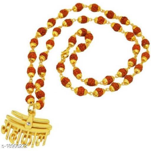 Religious Jewelry Loard Shiv Mahakal Locket With Puchmukhi Rudraksha Mala (8MM Beads) Gold-plated Plated Wood Chain Wood Chain