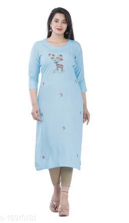 Light Blue Color Rayon Fabric Straight Handwork  Kurta