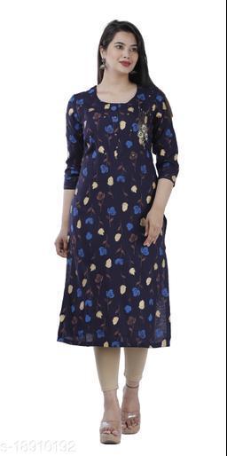 Blue Color Rayon Fabric Straight Handwork  Kurta