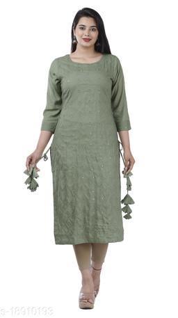 Green Color Rayon Fabric Straight mirror Kurta