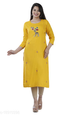 Women Rayon Slub A-line Embroidered Yellow Kurti