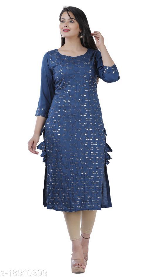 Blue Color Rayon Fabric Straight mirror Kurta
