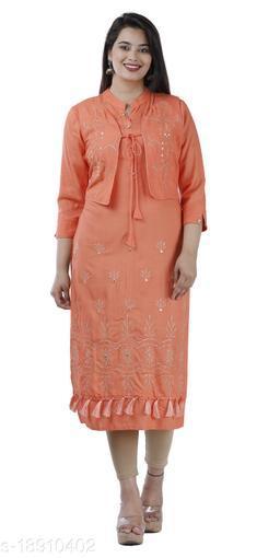Orange Color Rayon Fabric Jacketed mirror Kurta
