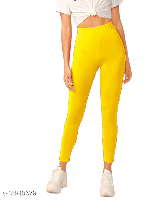 Women's Solid Cotton Blended 4 Way Stretched Ankle Length high Waistband jegging for Girls_legings for Women_Runnign jegging_yoga pant