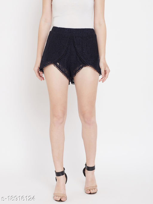 LUCERO HOT PANTS WITH ELATICATED WAIST AND POM POM LACE DETAILING