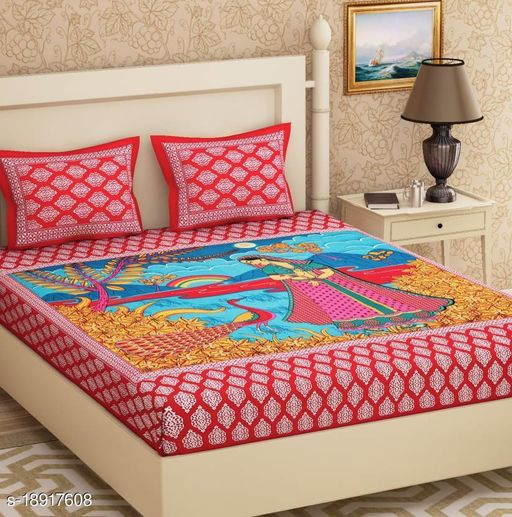 UniqChoice 120TC Cotton Double Bedsheet With 2 Pillow Cover(18_Red_89)