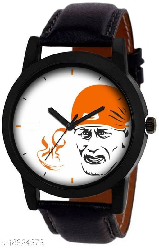 Premium range and Attractive look & White Colour Dial & Black Colour Genuine Leather Analog Watch For Men