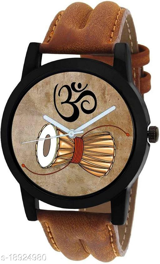 Premium range and Attractive look & Brown Colour Dial & Brown Colour Genuine Leather Analog Watch For Men