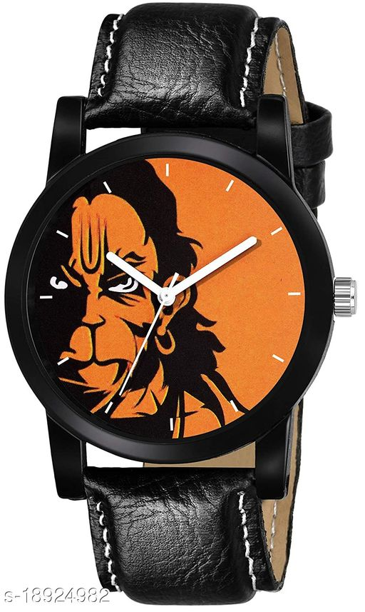 Premium range and Attractive look & Orange Colour Dial & Black Colour Genuine Leather Analog Watch For Men