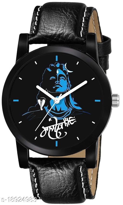 Premium range and Attractive look & Black Colour Dial & Black Colour Genuine Leather Analog Watch For Men