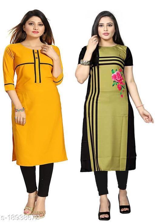 Women's Crepe Combo Daily Wear Stright  Kurti