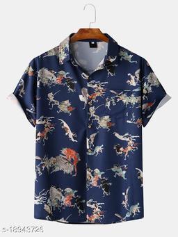 Men Fashion Beach Cartoon Character Print Shirts (Stitch Size-L)