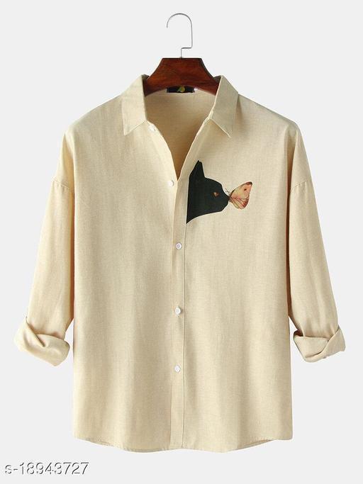 Black Cat Chest Print Plain Lapel Casual Shirts (Stitch Size-XL)