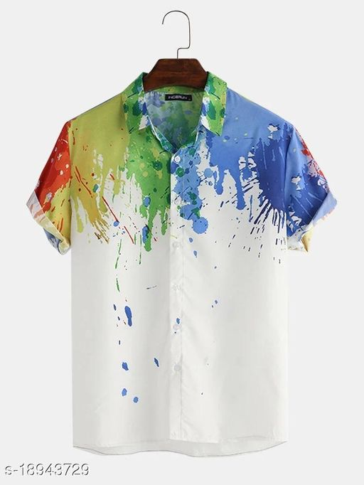 Abstract Element Pattern Print Breathable Shirts (Stitch Size-L)