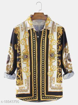 Baroque Print Patch Casual Lapel Shirts (Stitch Size-M)