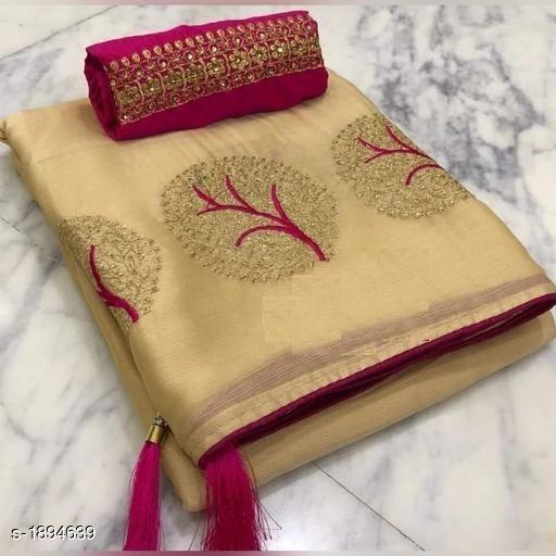 Attractive Moss Chiffon Embroidery Saree