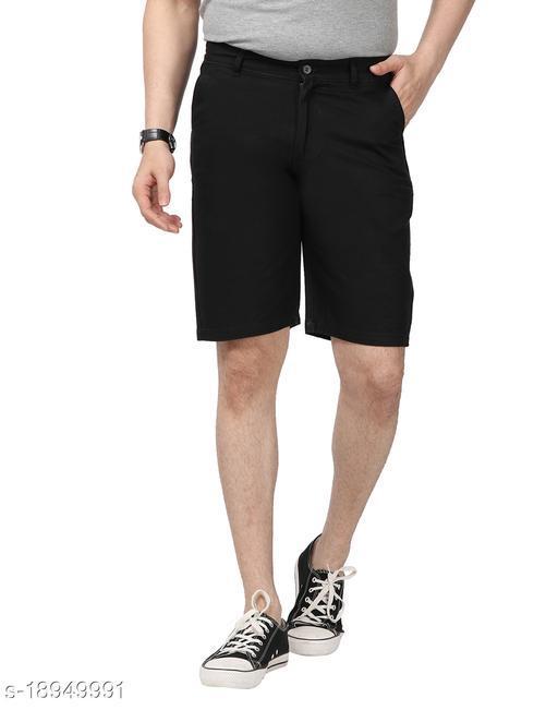 SSC Men's Black 100% Cotton Solid 4-Pocket Bermuda Shorts