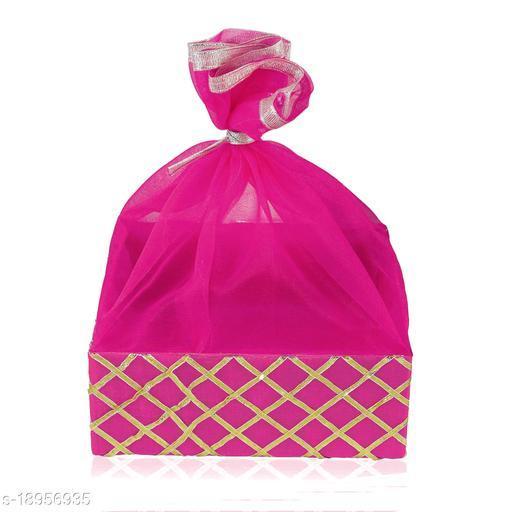 LINE 'N' CURVES Wedding Gift Hamper Basket, Room Basket, Baby Shower Gifting, Color - RANI PINK (Size- 8 x 8 x 3 Inches)
