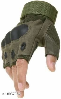 Cratos Nylon Tactical Half Finger Gloves for Sports, Hard Knuckle,Hiking,Cyclling,Travelling,Camping,Outdoor,Boxing, Motorcycle Riding, Arm Shooting Gym Gloves | Army Green Colour MEDIUM SIZE