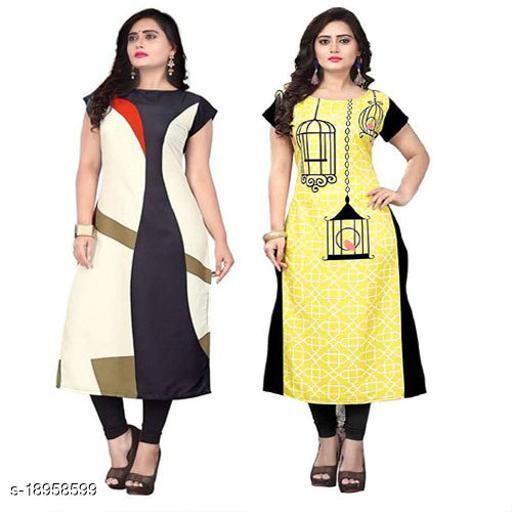 Women Crepe A-line Printed Yellow Kurti