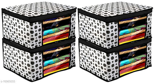 Polka Dots Design 8 Piece Non Woven Fabric Saree Cover/ Clothes Organiser For Wardrobe Set with Transparent Window, Extra Large,(Black & White)