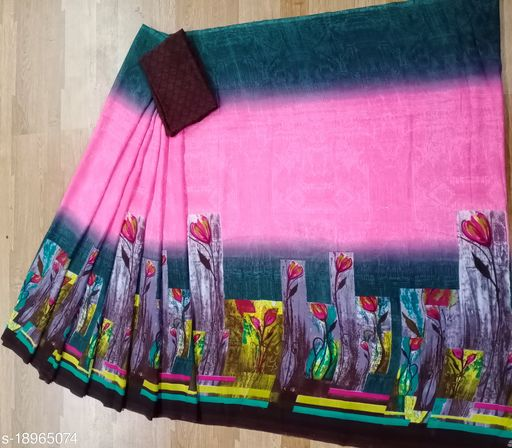 Women's Reniyal Printed Daily Wear Saree With Unstitched Blouse Piece.