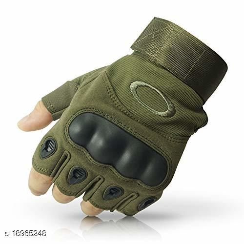 REXIFY Nylon Tactical Half Finger Gloves for Sports, Hard Knuckle,Hiking,Cyclling,Travelling,Camping,Outdoor,Boxing, Motorcycle Riding, Arm Shooting Gym Gloves | Army Green Colour