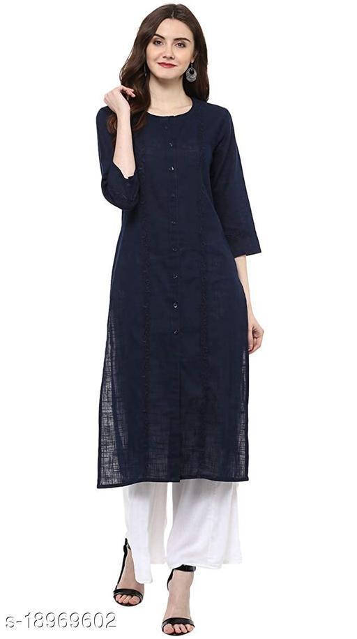 Rajkanya Embroidery Printed Cotton Kurta For Girls and Women Navy Blue S