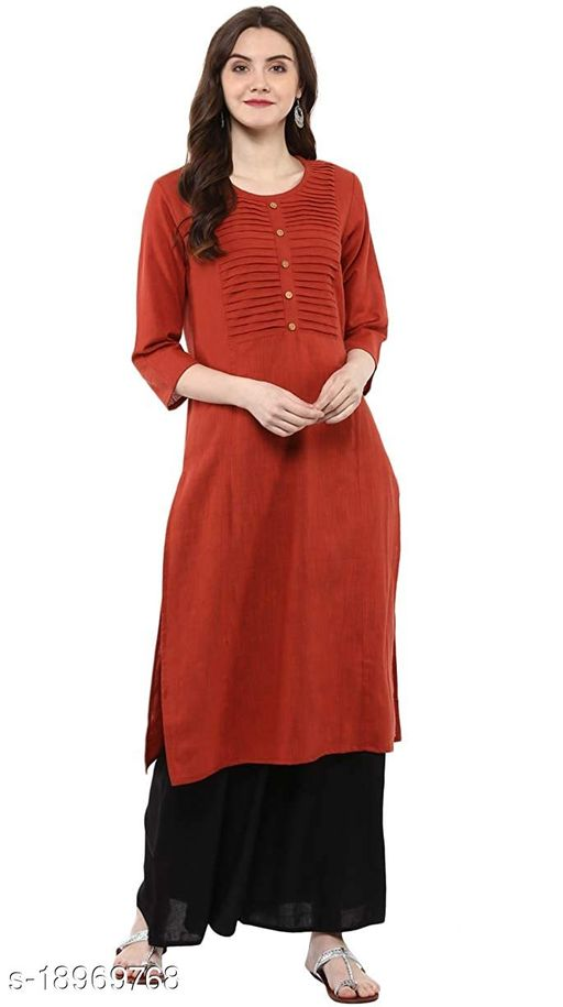 Aawari Plain Cotton Kurta For Girls and Women Light Red XXL