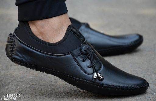 Trendy Men's Synthetic Black Loafers