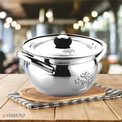 Stainless Steel Apple Shape Handi with Lid for Cook and Serve (1.5 L, 18Cm, Mirror Finish)