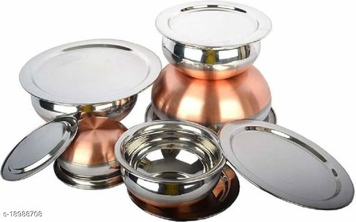 Stainless Steel copper bottom  Handi Set with Lid | Kitchen Cooking and Serving Bowl Set | Biryani Handi | Punjabi Handi | Dining Handi | Lid Handi (Silver)(5 Piece with Lid)