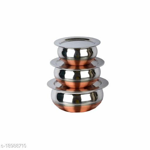 Stainless Steel Coppor Bottom Handi/patila/Pot Set with Lid (Handi with LID 3PC Set)