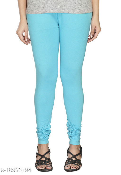 Sky blue - trendy latest Ultra Soft Cotton Churidar Solid Regular and Plus 45 Colours Leggings for Womens and Girls.100% cotton and 100% gaurantee.