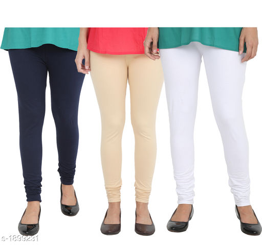 Attractive Cotton Lycra Leggings (Pack Of 3)