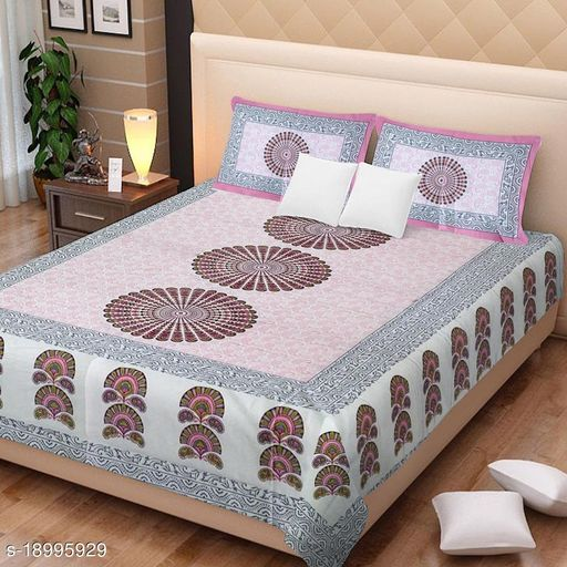 UniqChoice 100% Cotton Jaipuri Traditional Printed Double Bedsheet With 2 Pillow Cover