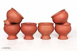 Vaghbhatt Handmade Pack Of 6 150 ML Clay Glasses, Clay Glass For Tea, Drinking Water, Tea, Lassi, Wine /Clay Milk Glass/Clay lassi Glass/Clay Juice Glass/Mitticool Glass/Earthenware Product Good for Health