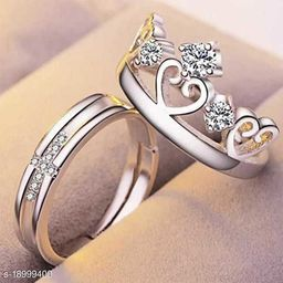 Silver Xross & Crown Couple Rings