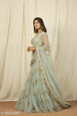 Unique Olive Green Colored Embrodary Work Party Wear Designer Net with Raw Silk Lehenga Choli