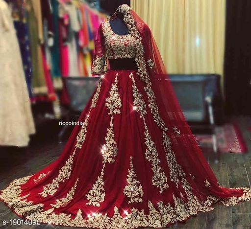 Maroon Colored Party Wear Lehengha Choli With Embrodariy Work