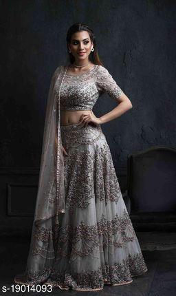 Grey Colored Partywear Designer Embroidered Net with silk Lehenga Choli