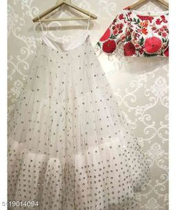 White Colored Embroidered Work Attractive Party Wear Lehenga Choli